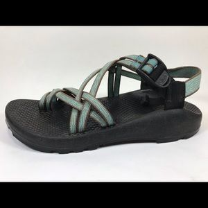 Chaco Blue Brown Sport Sandals Sz 9M Toe Loop